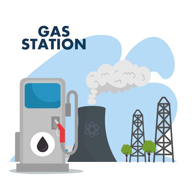 ガソリンスタンドと製油所の煙突シーンベクトルイラストデザイン