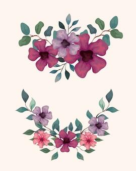 装飾、枝と葉、自然の装飾イラストデザインと花のセット