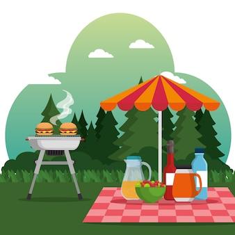 夏のピクニック野外バーベキューグリル