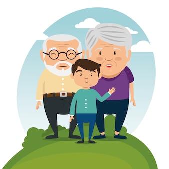 Счастливый бабушка и дедушка