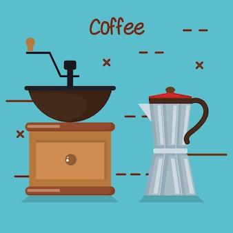 Кофеварщик ручной работы и мока-горшок на синем фоне