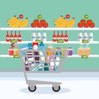 ショッピングカートのスーパーマーケット食料品