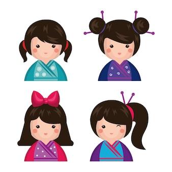 Значок японской куклы