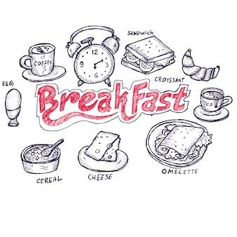 朝食、落書き