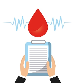 Капля крови и руки, содержащие медицинское заключение