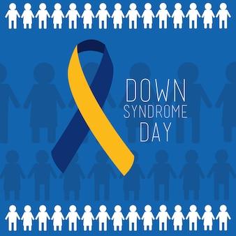 Вниз синдром день синий и желтый лента люди фон