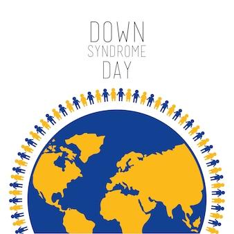 Вниз синдром день люди вокруг символа мира