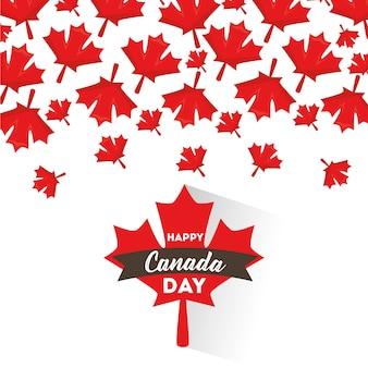 Счастливый канадский день кленовые листья падающая карта