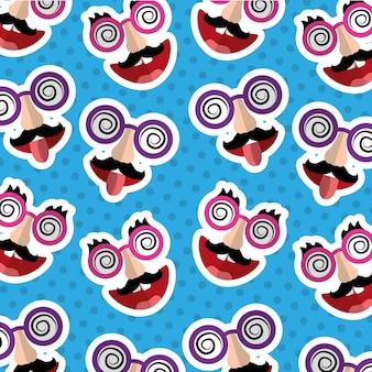 Глупый день маски усы язык из глупых очков шаблон