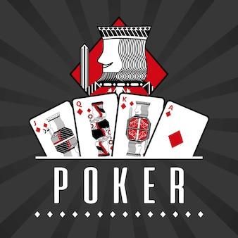 カードカジノポーカー王のダイヤモンド黒い線の背景のデッキ