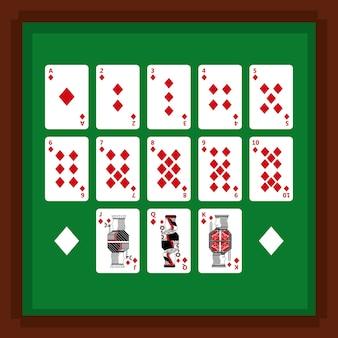 緑のテーブルにダイヤモンドスーツのカードを再生するポーカーのセット
