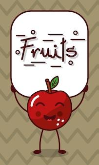 フルーツサインとハッピーリンゴかわいい漫画