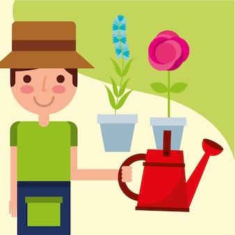鉢植えと花を鉢に入れている庭師の少年
