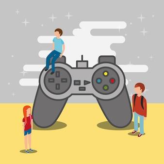 人々のティーンエイジャーとビデオゲームの大きなコントロール