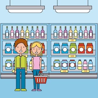 ボトルとボックス飲料とスーパーマーケットの棚のカップル