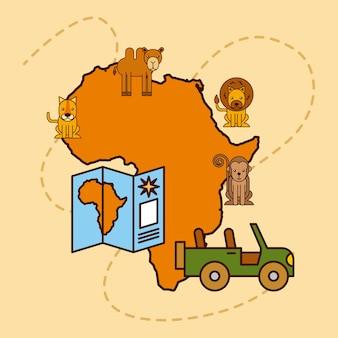 サファリの地図アフリカの動物野生動物のジープのシンボル