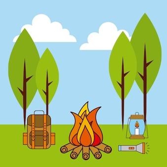 Пейзаж огненный лагерь рюкзак фонарь фонарь