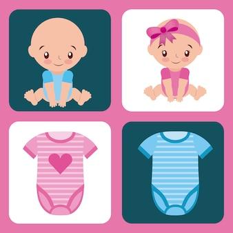 Симпатичный набор для детской душевой девочки и детской одежды