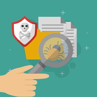 手でフォルダの文書を検索するウイルスのサイバーセキュリティ