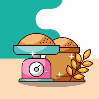 ベーカリーキッチンスケール袋の小麦小麦の耳