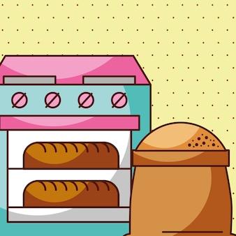 オーブンで焼きたてのパン、キッチン焼き