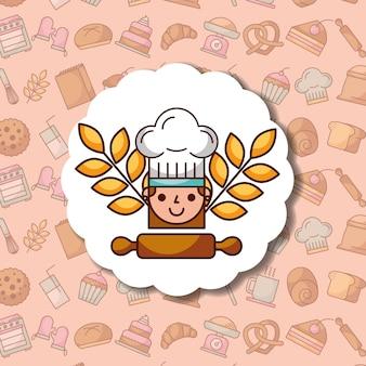 シェフの女の子の漫画のラベルのデザートパン屋の背景
