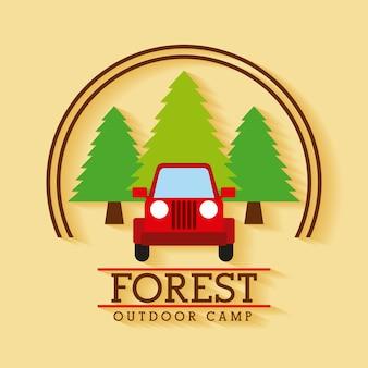 森林野外キャンプジープ旅行木のバッジ