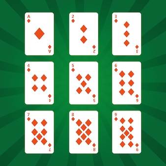 緑の背景にカードゲームのダイヤモンドのスーツ