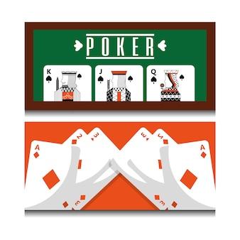 Набор различных комбинаций игральных карт королевский на покерном столе