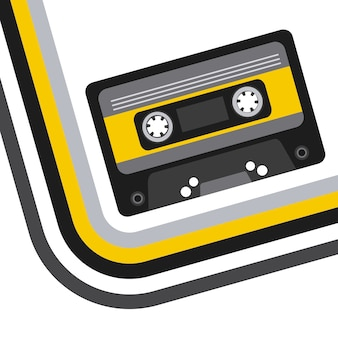 Значок музыкальной кассете на белом фоне