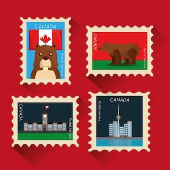 カナダ、郵便切手、国民、シンボル、ベクトル、イラスト