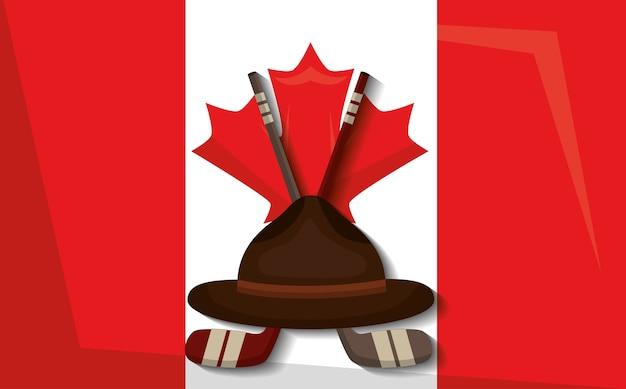 ホッケースティックと帽子のベクトル図とカナダの国旗