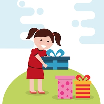 Молодая счастливая девушка держит яркий подарочной коробке и много подарков в векторе векторных иллюстраций