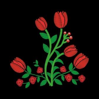 エレガントな刺繍装飾的なバラの花の花のスタイル