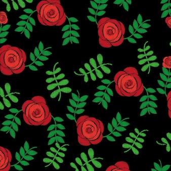 シームレスなパターンの刺繍ファッションバラの花