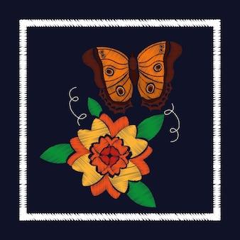 花柄の刺繍バラと蝶の飾り