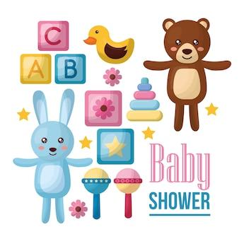 ベビーシャワーのお祝いかわいいクマ開いている武器ピンクのペナントカブズアヒルの女の子が生まれた