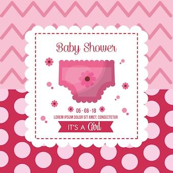 おむつ女の子が生まれたポルカドットの背景とベビーシャワーお祝いのフレーム