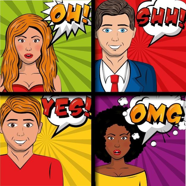 Люди поп-арт комикс и женщины