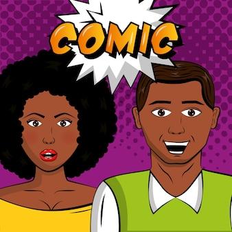 Афро-американская пара портрет поп-арт комикс