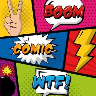 Комикс поп-арт фон речи пузыри рука мира любовь бум