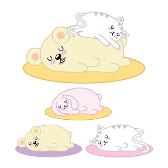 かわいい動物たちは漫画の中で寝ている