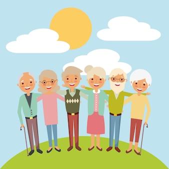Обнял пожилая женщина и мужчина, улыбаясь вместе пейзаж