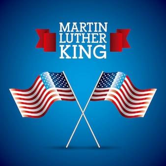 マーティンルーサーキングカードペアフラグアメリカンクロス