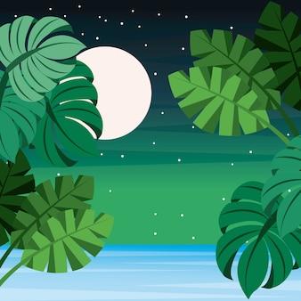 風景の熱帯の葉パーム海満月の星