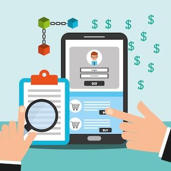 スマートフォンとクリップボードのお金のブロックチェーン