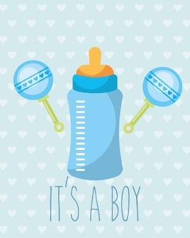 青い哺乳瓶のガラガラのおもちゃその少年のカード
