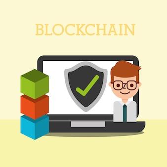 ビジネスビジネスラップトップブロックチェインチェックマーク