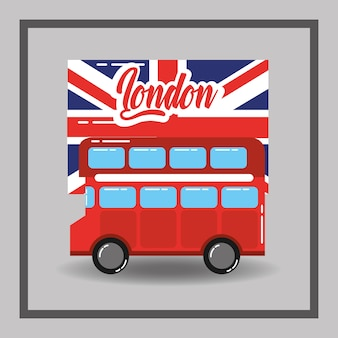 赤いロンドンの二重デッキバスの旗公共交通機関