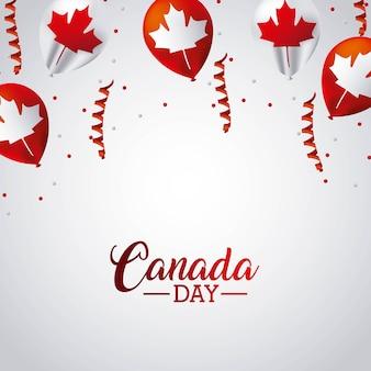 Канадский день серпентины воздушные шары флаг оставить клен